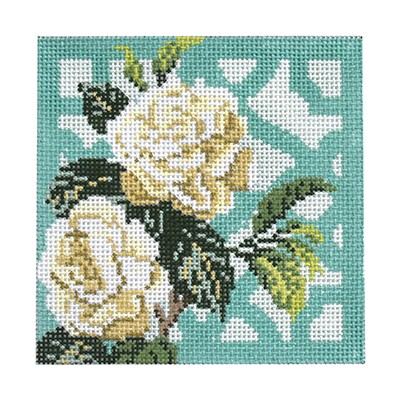 click here to view larger image of Trellis Coaster - Gardenia (hand painted canvases)