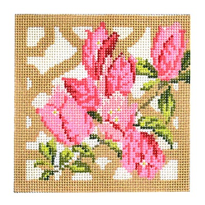 click here to view larger image of Trellis Coaster - Bouganvillia (hand painted canvases)