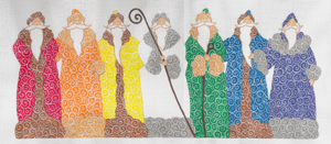 click here to view larger image of Rainbow Santas (hand painted canvases)