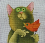 click here to view larger image of Cat with Red Bird (hand painted canvases)