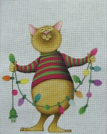 click here to view larger image of Cat with Lights (hand painted canvases)
