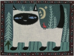 click here to view larger image of Cat and Cardinal (hand painted canvases)