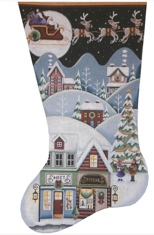 click here to view larger image of Sweet Shop Village Stocking - 18m (hand painted canvases)
