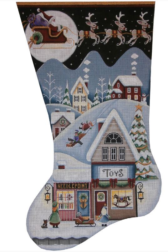 click here to view larger image of Toy Shop Village Stocking - 18m (hand painted canvases)