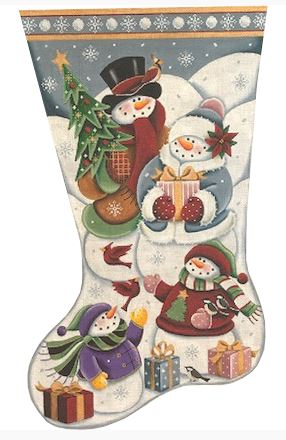 click here to view larger image of Christmas at the Frosties Stocking - 18m (hand painted canvases)