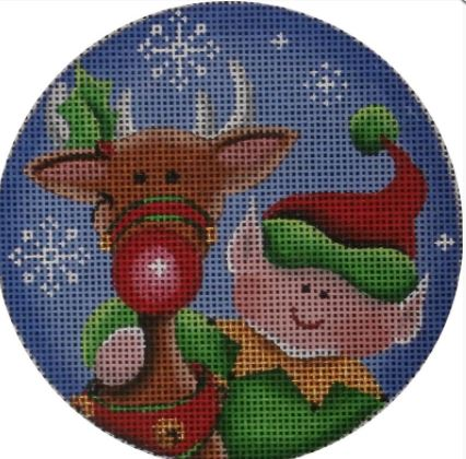 click here to view larger image of Rudolph and Elf 18M (hand painted canvases)