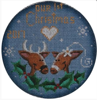 click here to view larger image of First Christmas Reindeer Ornament (hand painted canvases)