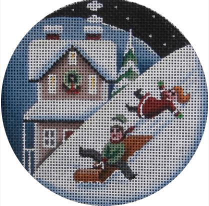 click here to view larger image of Sleds and Snow Ornament (hand painted canvases)