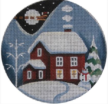 click here to view larger image of Red Winter Cabin Ornament (hand painted canvases)