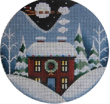 click here to view larger image of Wreath Winter Cabin Ornament (hand painted canvases)