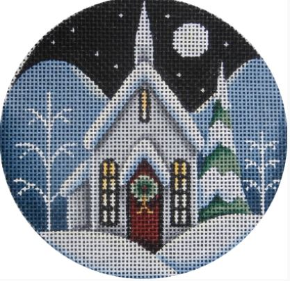 click here to view larger image of Christmas Eve Cabin Ornament (hand painted canvases)