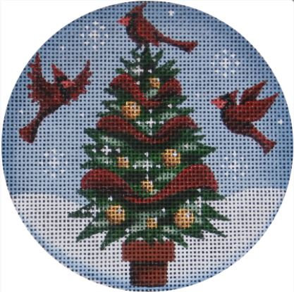 click here to view larger image of Cardinal Tree Ornament (hand painted canvases)