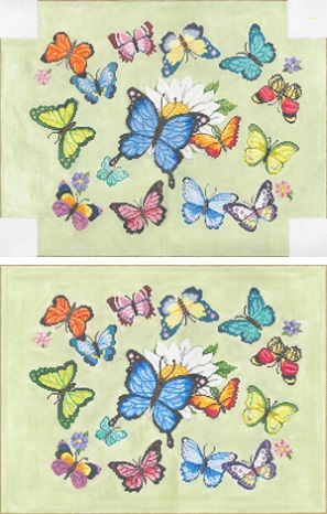 click here to view larger image of Butterflies Pillow (hand painted canvases)