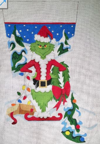 click here to view larger image of Grinch Stocking - 13M (hand painted canvases)
