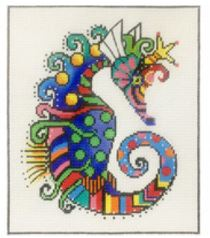 click here to view larger image of Patterned Seahorse (hand painted canvases)