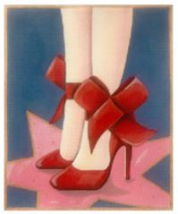 click here to view larger image of Red Shoes (hand painted canvases)
