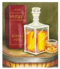 click here to view larger image of Whiskey Bottle (hand painted canvases)