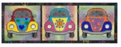 click here to view larger image of Groovy VW Bugs (hand painted canvases)