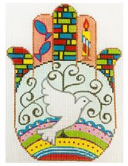 click here to view larger image of Dove Hamsa (hand painted canvases)