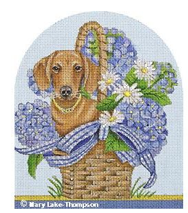 click here to view larger image of Doxie Basket (hand painted canvases)