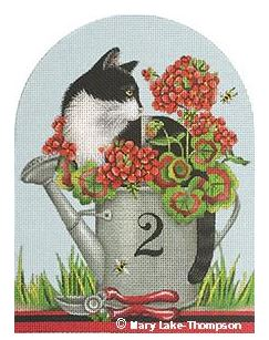 click here to view larger image of Geranium Cat (hand painted canvases)