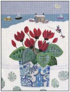 click here to view larger image of Snowy Cyclamen (hand painted canvases)