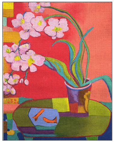 click here to view larger image of Orchid With Gold Fish (hand painted canvases)