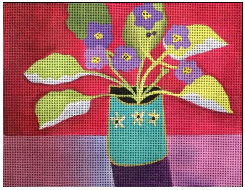 click here to view larger image of Violets (hand painted canvases)