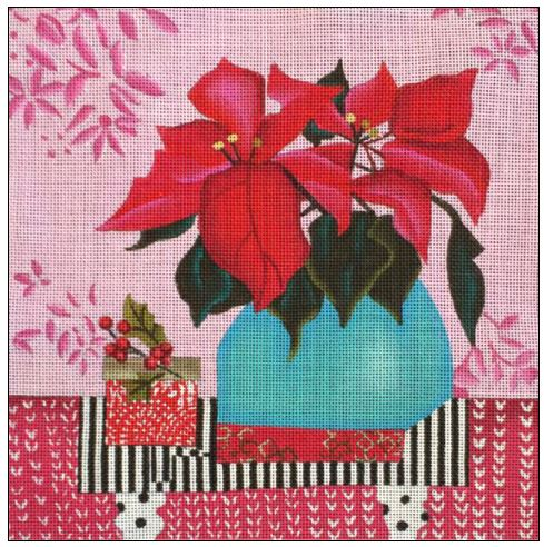 click here to view larger image of Christmas Poinsettia (hand painted canvases)