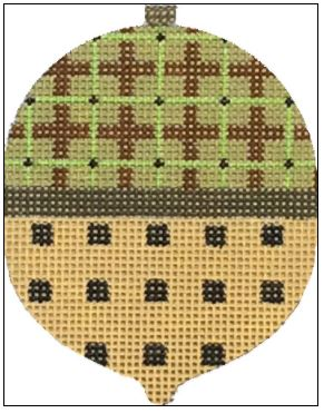 click here to view larger image of Plaid and Dots Acorn (hand painted canvases)