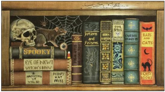 Scary Books hand painted canvases