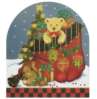click here to view larger image of Acorn Santa Bag (hand painted canvases)