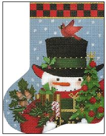 click here to view larger image of Acorn Snowman MIni Socl (hand painted canvases)