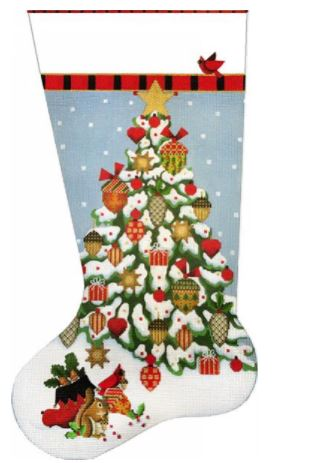 click here to view larger image of Acorn Tree Stocking (hand painted canvases)