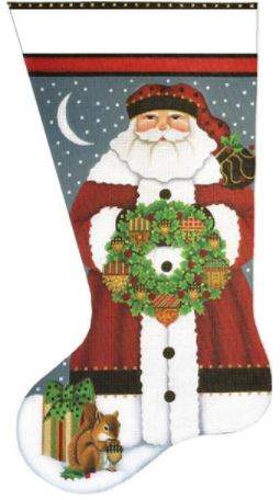 click here to view larger image of Acorn Santa Sock (hand painted canvases)