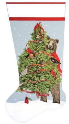 click here to view larger image of Bear Tree Stocking (hand painted canvases)