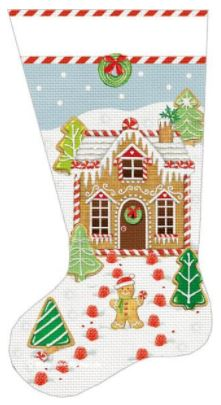 click here to view larger image of Gingerbread House Sock (hand painted canvases)