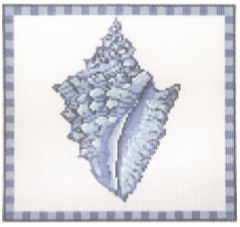 click here to view larger image of Conch Shell in Ocean Blue (hand painted canvases)