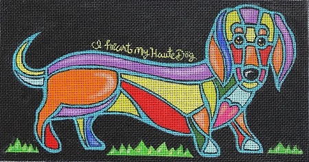 click here to view larger image of I Heart My Haute Dog (hand painted canvases)