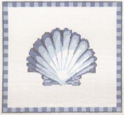 click here to view larger image of Classic Scallop in Ocean Blue (hand painted canvases)