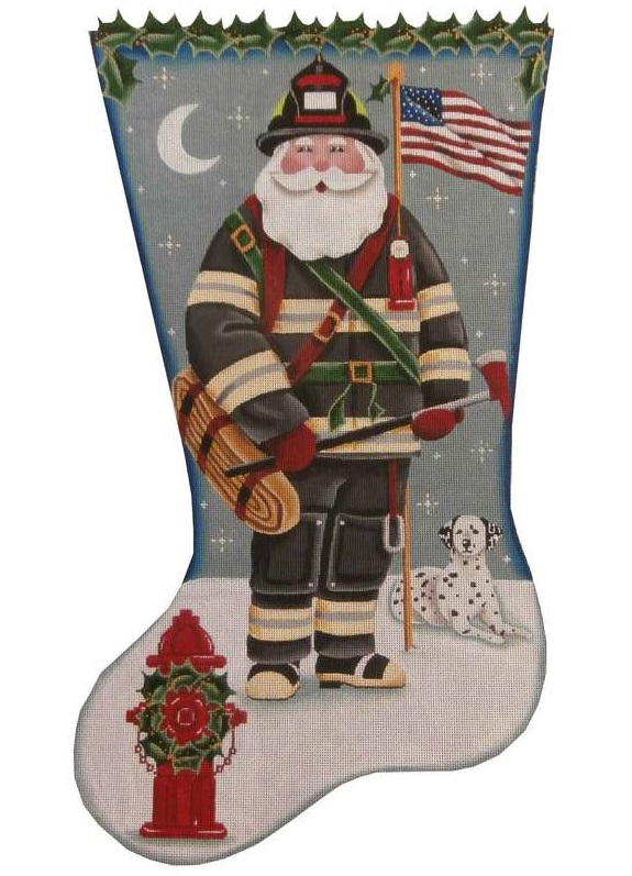 click here to view larger image of Fireman Santa Stocking (hand painted canvases)