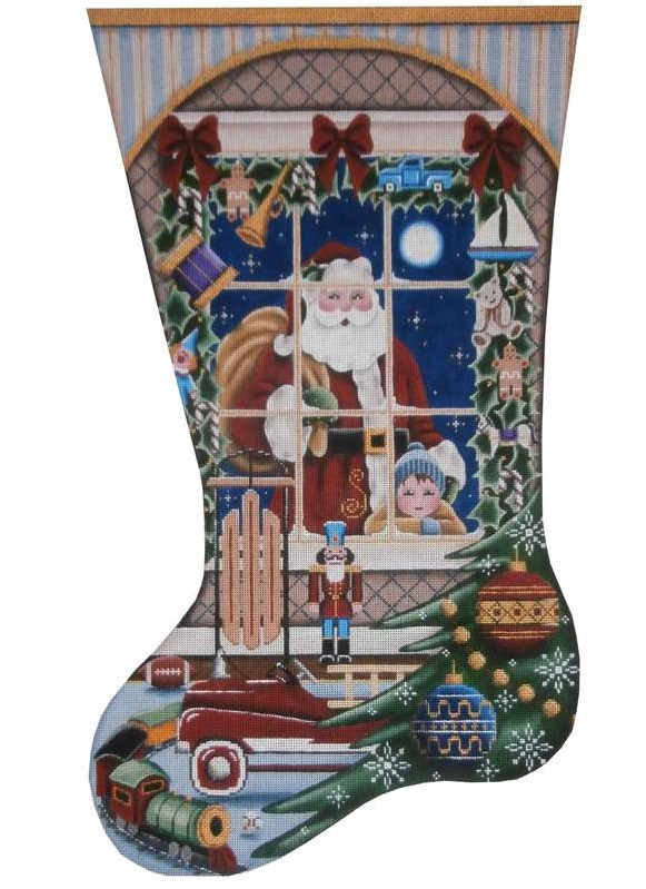 click here to view larger image of Christmas Wishes Boy Stocking (hand painted canvases)