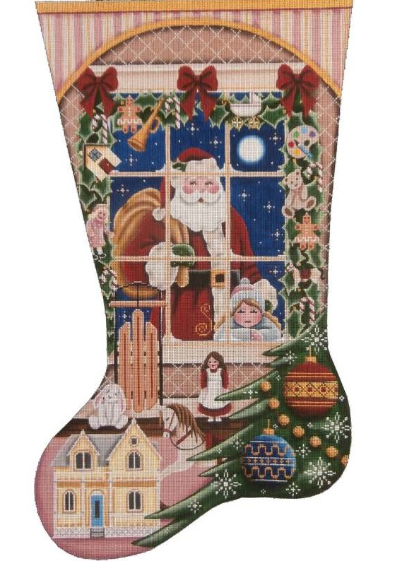 click here to view larger image of Christmas Wishes Girl Stocking (hand painted canvases)