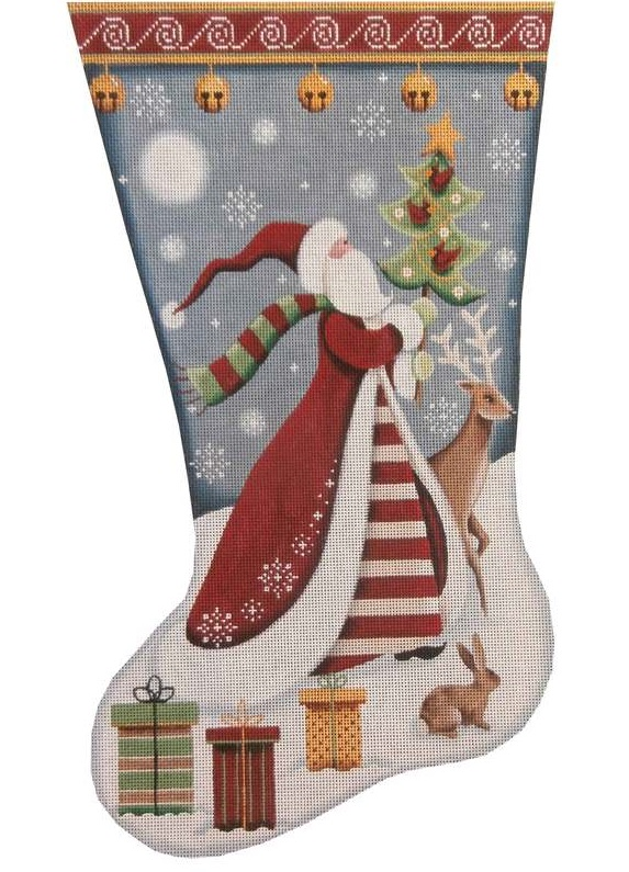 click here to view larger image of Folk Santa Stocking (hand painted canvases)