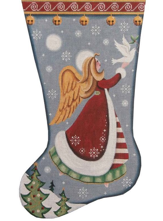 click here to view larger image of Folk Angel of Peace Stocking (hand painted canvases)