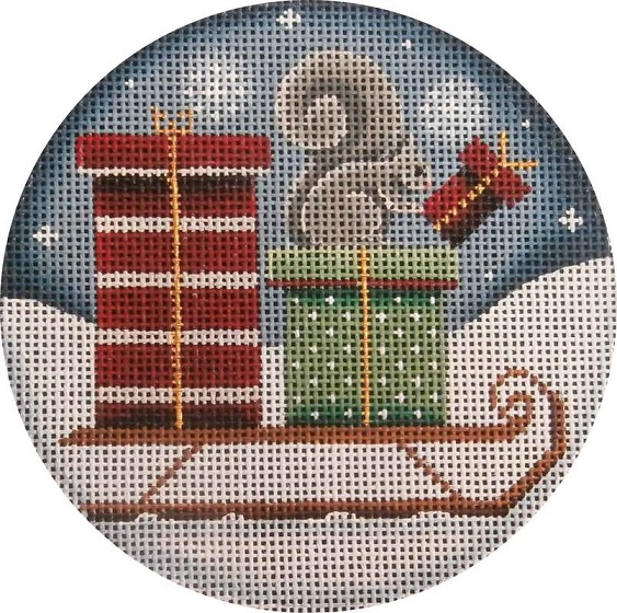 click here to view larger image of Squirrel Presents Ornament (hand painted canvases)