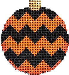 click here to view larger image of Black/Orange Chevron Ball Ornament (None Selected)