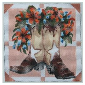 click here to view larger image of Brown Boots with Tiger Lilies (None Selected)