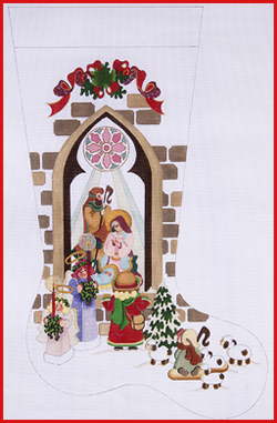 click here to view larger image of Girl At Nativity Window With Angels, Shepherd, and Lamb Stocking - 13ct (None Selected)